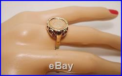 100% Genuine Vintage 8k Solid Yellow Gold Rare Coin Signet Ring Sz 7.5 US