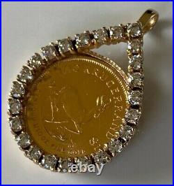 100 PERCENT GENUINE SOLID GOLD 10th KRUGERRAND COIN PENDANT IN 9CT GOLD MOUNT