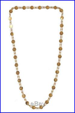 12 Grams Handmade Coin Chain In Solid Real 18KT Certified Yellow Gold 25 Inch