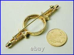 1366 Brooch Pin 18k Solid Yellow Gold, Diamonds and US $5.00 Gold Eagle Coin