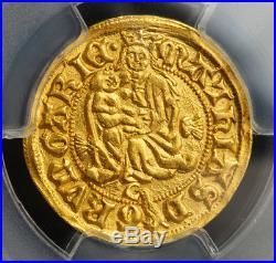 1458, Hungary, Mathias Corvinus. Rare Gold Gulden (Ducat) Coin. Gem! PCGS MS-64