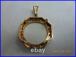 14KT SOLID GOLD FOR 1/4OZ GOLD EAGLE Or krugerrand DIAMOND BEZEL 5.5 GRAM