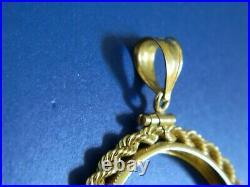 14K 14 Karat Solid Gold Adjustable Screw-Top Coin Bezel for 1oz Gold Panda