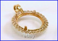 14K 1.4g SOLID YELLOW GOLD & DIAMONDS TAB-STYLE 14mm COIN BEZEL #538