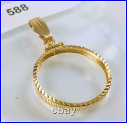 14K 1.5g SOLID YELLOW GOLD DIAMOND-CUT SCREW-TOP STYLE 22mm COIN BEZEL #588