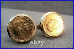 14K GOLD CUFFLINKS Solid Gold with 1896 & 1910 AUSTRIA 10c COIN 22K GOLD VTG