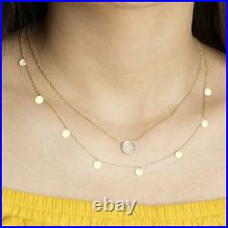 14K Solid Gold Layering Disc Coin Necklace