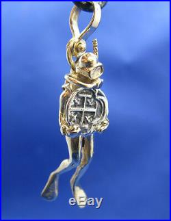 14K Solid Gold Small Diver Holding Spanish Replica Shipwreck Coin Charm Pendant