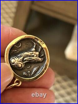14K Solid Gold and Sterling Silver Athena Coin Pendant Ancient Greek Goddess