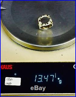 14K Solid Yellow Gold Men's 21MM NUGGET RING fits a 1/10 OZ EAGLE COIN -Mounting