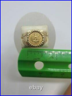 14K Solid Yellow Gold Men's Rolex Style Ring W Dos Pesos Gold Coin Size 9.5