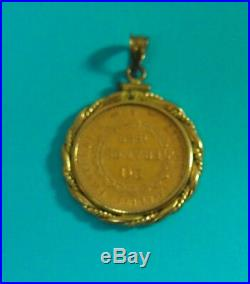 14k Bezel Lucky Angel 20 Franc Gold Coin Bezel Set Pendant 1889
