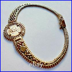 14k Bracelet 7.9 with centenario coin 2 pesos 1945 21.6k SOLID Gold