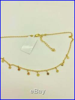 14k Solid Gold Choker Necklace, Tiny Coin Drop Choker