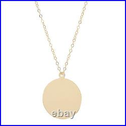 14k Solid Gold Coin Pendant Necklace/ Disc Necklace /22 inches. Adjustable