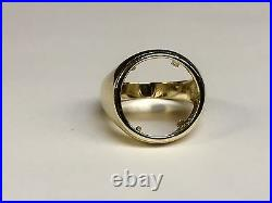 14k Solid Gold Ring 22 MM for 2.5 Dollar Indian Head COIN (mounting only)