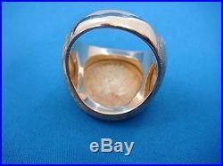 14k Solid Yellow Gold 2 1/2 Dollar Coin Men`s Ring 21.8 Grams, Size 7.25