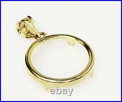 14k solid Yellow gold 4-Prong Coin Bezel Frame 1 oz gold Eagle, 1 Oz Krug. #14