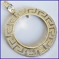 14k solid gold 2 Prong Greek Key 50 pesos Santanario Coin Bezel Frame pendant