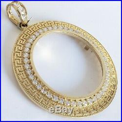 14k solid gold 4 Prong Greek Key 50 pesos Santanario Coin Bezel Frame pendant