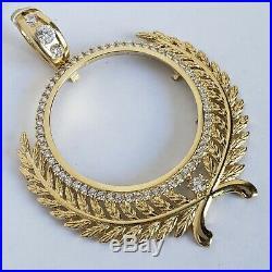 14k solid gold 4 Prong Olive Branch 50pesos Santanario Coin Bezel Frame pendant