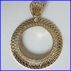 14k solid gold 4 Prong crown 50 pesos Santanario Coin Bezel Frame pendant