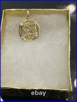14kt Solid Gold Atocha Coin Mini Pendant