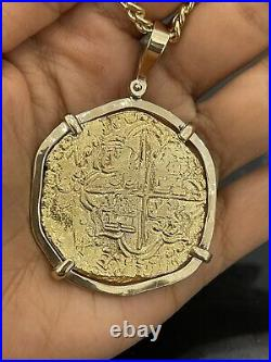 14kt Solid Gold Heavy Atocha Coin Pendant