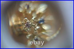 14kt solid gold Mother's Pendant Message Coin Flower Basket + gems charm-pendant