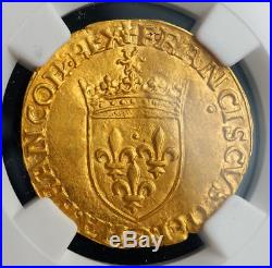 1547, Royal France, Francis I. Beautiful Gold Ecu (with Sun) Coin. NGC MS-61
