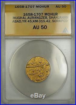 1658-1707 India Mohur Gold Coin Mughal Aurangzeb Shahjahan Abad ANACS AU-50 YR45