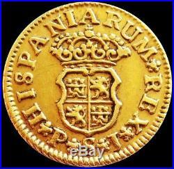 1743 S Pj Gold Spain 1/2 Escudo Philip V Coin Seville Mint