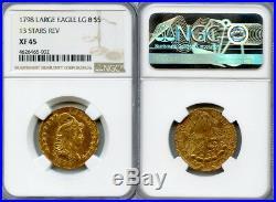 1798 Lg Eagle $5 Gold Coin NGC XF45 LG 8, 13 STARS REV