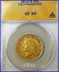 1812-M Italy 40L Lire Napolen Gold Coin ANACS VF-30