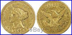 1848 $2.5 PCGS-AU 58 CAL. Quarter Eagle 1st Commemorative Coin! Gold Super Rare
