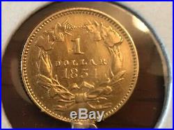 1854 Liberty Head 900 Solid Gold $1 Dollar Coin Charm / pendant 14K Links Marked