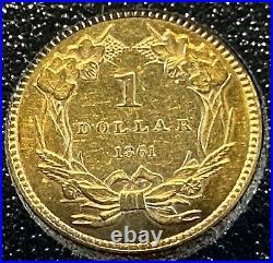 1861 US Civil War Era Gold $1 Coin, Type 3, LG Indian Princess Head Gold Dollar