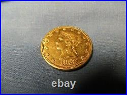 1882 Gold Ten Dollar Eagle Coin $10 sharp images, very light wear, rare, solid