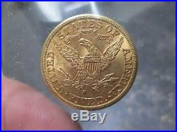 1885 S 5 Dollar Liberty Gold Coin In About Uncirculated Condition