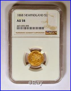 1888 Newfoundland Gold $2 NGC AU58 Scarce Coin 25,000 Mintage