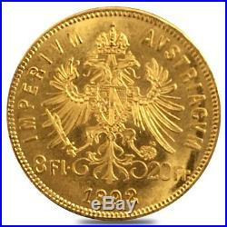 1892 Austria 8 Florins/20 Francs Gold Coin AU/BU AGW. 1867 oz (Restrike)