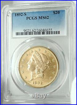 1892 S UNITED STATES US Liberty Head Gold Double Eagle Coin PCGS MS 62 i75985