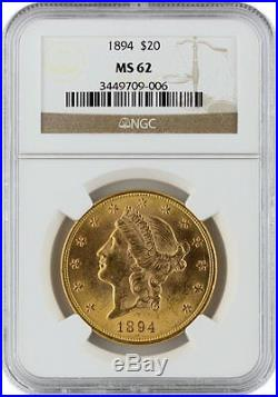 1894 $20 Liberty Head Double Eagle NGC MS 62 Old Early Gold Coin Mint UNC 62