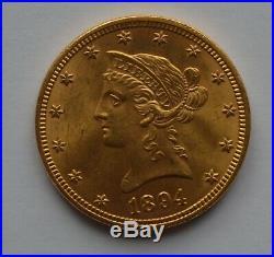 1894 USA Gold $10 Ten Dollar Liberty Head 16.72 Grams Coin HIGH GRADE