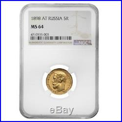 1898 Russia 5 Roubles Nicholas II Gold Coin NGC MS 64