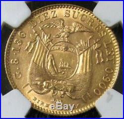 1899 Gold Ecuador 10 Sucre Coin Ng Au 58 Birmingham Mint