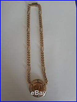 18K Solid Gold Vintage 1959 Coin withDiamonds Necklace 46 grams