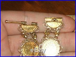 18k Solid Gold Coin Bracelet Ottoman Empire Handmade Sz 7.5 Inch 26.2 Gr