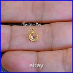 18k Solid Yellow Gold Rose Cut Diamond Coin Milgrain Bezel Charm Pendant FOCAL