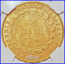 1904 A Gold France 50 Francs Standing Genius Coin Ngc Mint State 61